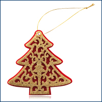 Christmas tree of felt red/gold